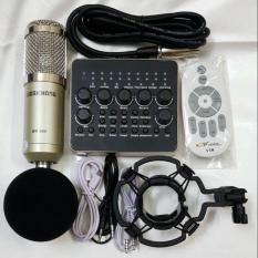 combo míc thu âm livestream hát karaoke online micro BM900 card v10