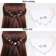 Băng đô cài tóc 2in1 Hàn Quốc (Kim cương-Ngọc Trai)