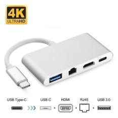 cáp 4-trong-1 – USB C 3.1 Loại c sang cổng video HDMI + RJ45 (Gigabit Ethernet) + Cổng USB 3.0 + Cổng cấp nguồn