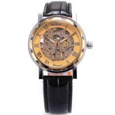 Đồng hồ cơ dây da Winner Classic đeo tay thể thao (Mặt Vàng)