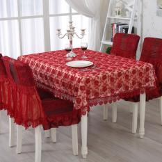 Khăn trải bàn ren khổ rộng 2mx1m40 Màu Đỏ