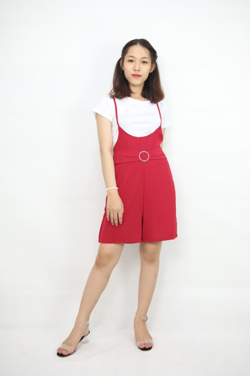Set áo thun và yếm lửng đỏ girl-127