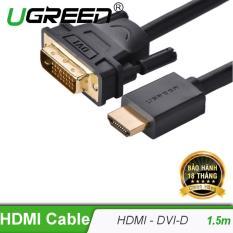 Cáp chuyển đổi HDMI sang DVI-D 24+1 dài 1.5M UGREEN HD106 11150 (Đen) – Hãng phân phối chính thức.