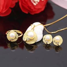 Bộ Trang Sức Bạc Nữ Đính Ngọc Trai Dát Vàng Cao Cấp Trang Sức 3 Món BNT609-Bảo Ngọc Jewelry