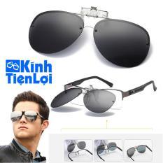 Tròng kính mát kẹp phân cực cho người cận Kính râm kẹp kính cận Kính phi công (Màu đen)