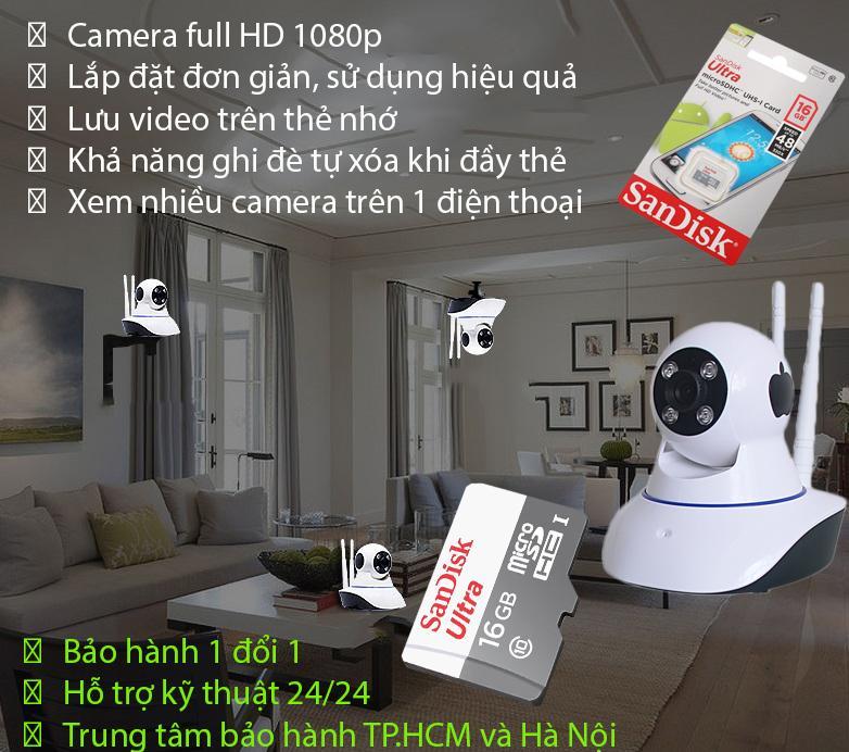 Lắp Đặt Camera Ip Như Thế Nào, Camera Siêu Nét Giám Sát 24/24 HDVI1619, camera wife – Camera Cao Cấp 1080P Giá Cực Sốc + Kèm thẻ nhớ 16G Sandisk Ultra Class 10 48Mb/s