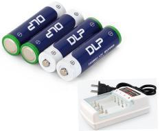 Bộ 4 pin tiểu sạc AA Ni-MH Delipow 3300mAh + tặng sạc cho pin sạc AA, AAA