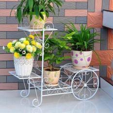 Kệ sắt trang trí phòng khách và để chậu hoa cây cảnh hình bánh xe