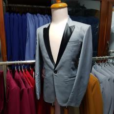 Bộ vest nam màu xám ghi phối ve phi đen (áo + quần)
