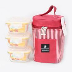 Bộ 3 hộp cơm thủy tinh vuông Happy Cook 320ml/hộp kèm túi giữ nhiệt HCG-03S1