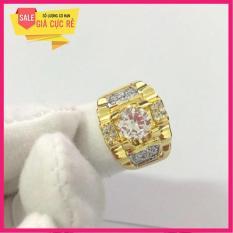 Nhẫn lông voi bạc xi Mạ vàng đính đá trắng cao cấp