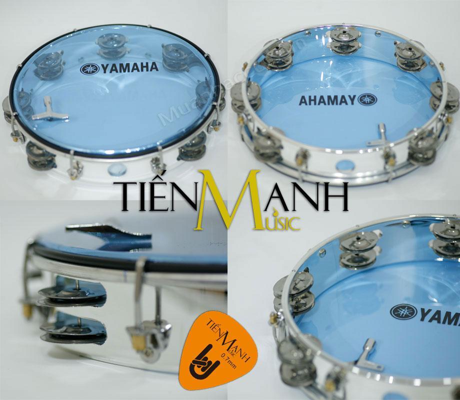 Trống lắc tay – Lục lạc gõ bo Tambourine Yamaha MT6-102B (Xanh Trong Suốt – Trống chơi nhạc chế gõ po – Xipo – Tặng móng gẩy Tiến Mạnh Music)