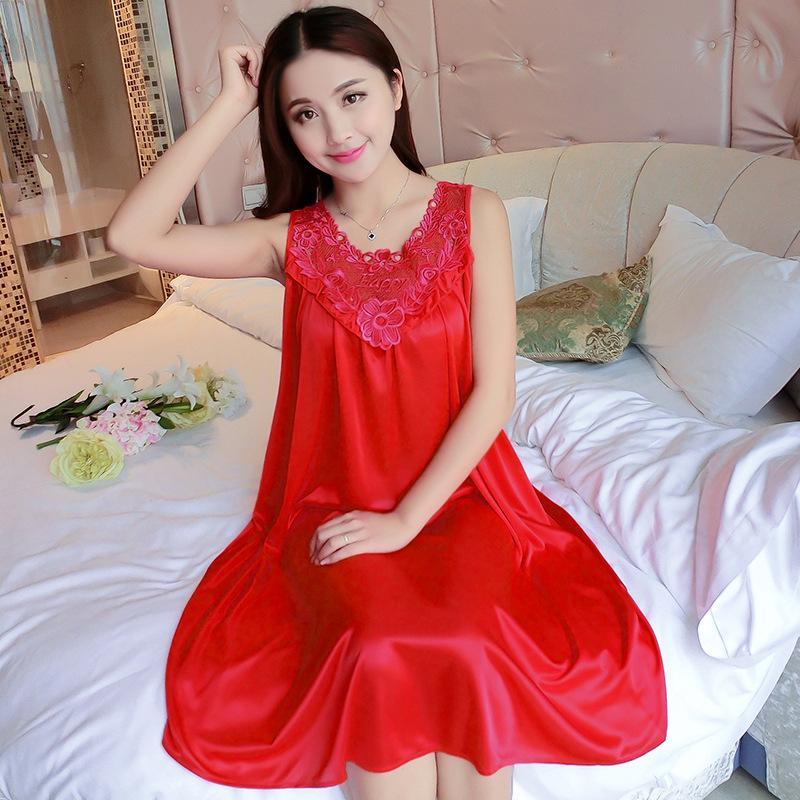 Đầm (Váy) ngủ nữ phi lụa cao cấp 2 dây xin xắn ren cổ IW-SX222