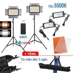 02 đèn Led quay phim Yongnuo YN600L full 5500K – 02 Adapter dài 3m – 02 Chân đèn cao 2m