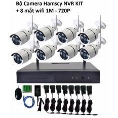 Bộ đầu ghi camera wifi Hamscy NVR HD + 8 camera wifi 720p- 1.0M