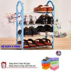 Kệ để giày dép 4 tầng tiện dụng Giá Tốt 360 (Màu ngẫu nhiên) + Tặng 02 hộp để giày tiện lợi