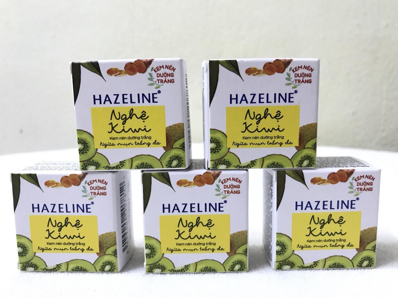 combo 5 hộp kem nén hazeline ngừa mụn dưỡng trắng 3g/hộp + Tặng 1 túi đựng mỹ phẩm
