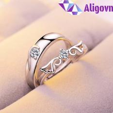 Nhẫn đôi Love tình yêu đính đá Free Size thời trang Hàn Quốc