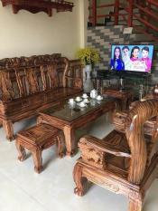 Bộ Bàn Ghế Gỗ Phòng Khách gỗ tràm Minh Quốc Đào PU Giả Mun