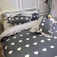 Bộ Vỏ Chăn Ga gối Cotton bèo màu tim ghi nhập khẩu siz 1m6- shop bùi Gấu bedding