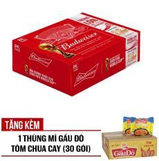 Budweiser lon 330ml – Thùng 24 – Tặng kèm 1 Thùng Mì Gấu Đỏ Tôm Chua Cay (30 gói)