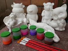 [Size lớn] Bộ tô tượng cho bé tại nhà (3 tượng lớn + màu + cọ vẽ + khay màu)