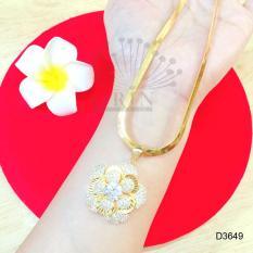 Dây chuyền xi vàng dạng mì dẹp bản lớn mặt hoa đính đá thời trang ORIN D3649