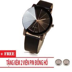Đồng hồ nam dây da Thạch Anh Cá Tính Mặt Tròn (Dây Đen, Mặt Đen) + Tặng Kèm Pin