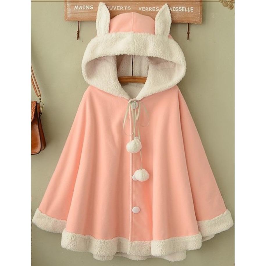 Áo khoác nữ thu đông có nón trùm tai thỏ lót bông LTTA834 (Hồng) BEAUTYSALES