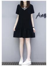 Đầm Váy Áo Thun Dáng Form Dài Suông Cổ Kẻ Chữ V Thời Trang FORHIMCS2 DAM 9000049C4