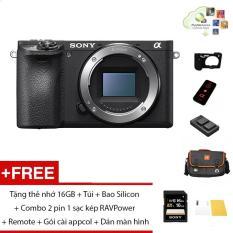 Máy ảnh Sony A6500 Body – Màu đen – Tặng thẻ nhớ 16GB + Túi + Bao Silicon + Combo 2 pin 1 sạc kép RAVPower + Remote + Gói cài appcol + Dán màn hình