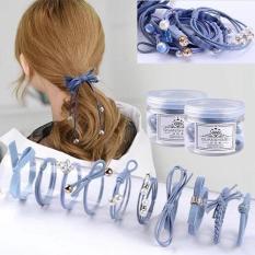 Hộp 12 dây buộc tóc,cột tóc kiểu hàn cao cấp có đính hạt