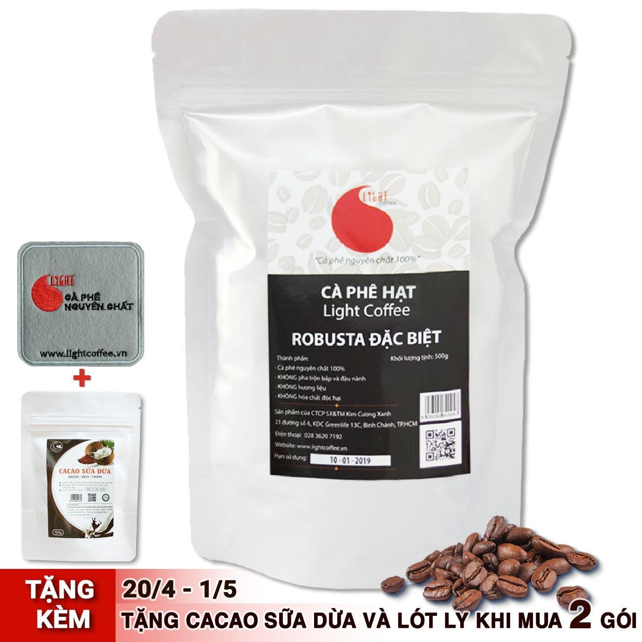 Cafe hạt Robusta nguyên chất 100% - Đặc biệt - Light Coffee - 500gr