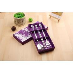 Bộ dụng cụ ăn 3 món Đũa, Thìa, Dĩa inox tiện dụng ( Màu Tím )
