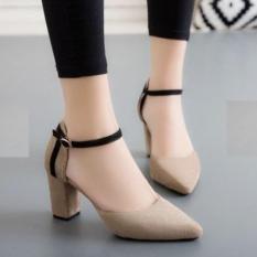 Giày cao gót bít mũi nhung 7p viên Rosa
