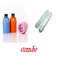 Combo Đèn led 8 bóng và đèn pin siêu sáng 3w dùng cổng USB