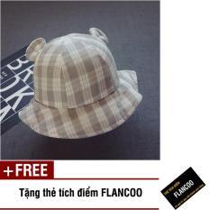 Nón vành hình caro vải cotton thời trang bé gái Flancoo 1721 (Xám) + Tặng kèm thẻ tích điểm Flancoo
