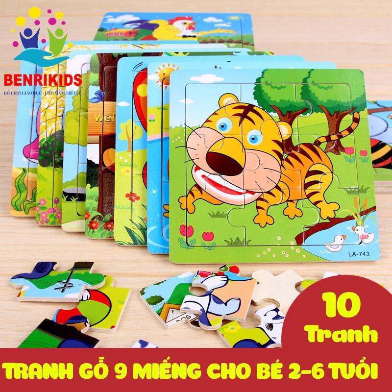 Bộ 10 Tranh Ghép Hình 2D - 3D - 16 Miếng Ghép Động Vật Và Phương Tiện Giao Thông(Họa Tiết...