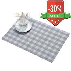 Bộ 4 tấm khăn lót bàn ăn basic caro (Màu Xám)
