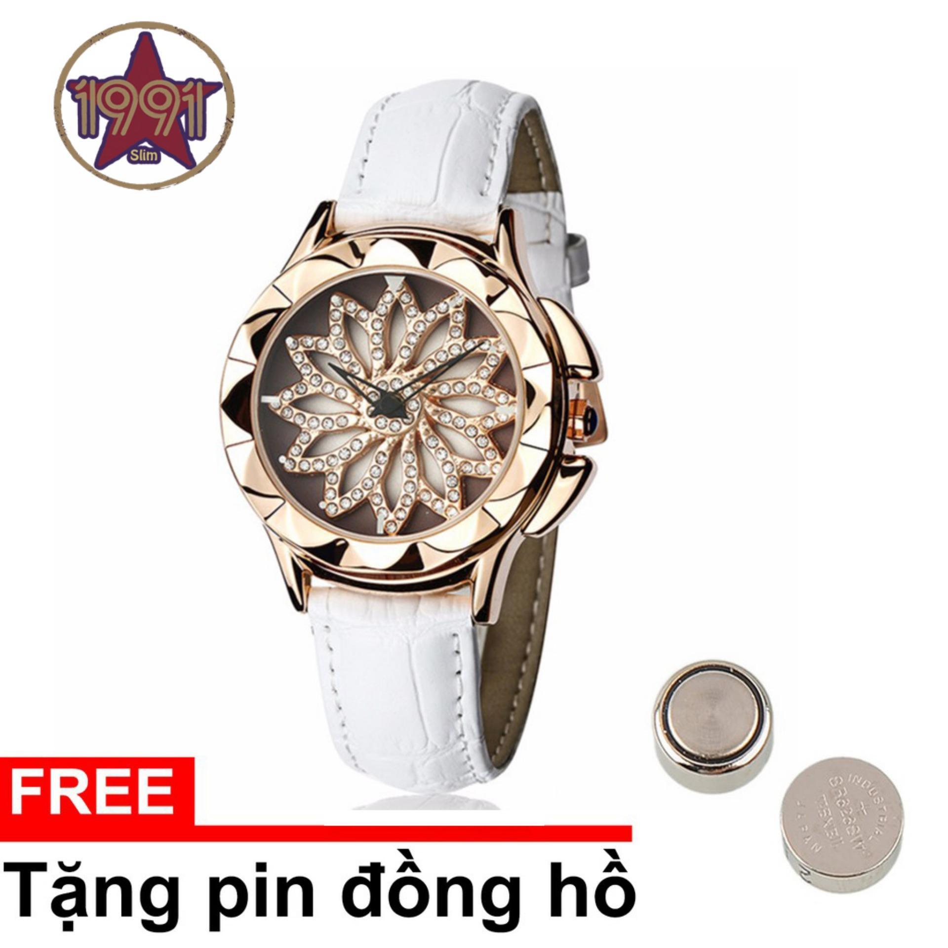 [TRỢ GIÁ-TRI ÂN CUỐI NĂM] Đồng hồ nữ hoa xoay 360 độ SANDA JAPAN dây da độc đáo P211 – 4 màu sang trọng
