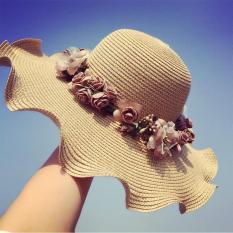 Mũ đi biển đính hoa uốn sóng (Màu cafe)