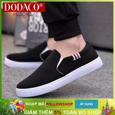 Giày lười nam vải thời trang DODACO LVS0007 (Đen Xám Đỏ Vàng)