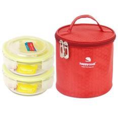 Bộ 2 Hộp Thủy Tinh Tròn Kèm Túi Giữ Nhiệt Happy Cook HCG-02C (400ml)