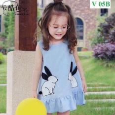 Váy dáng xoè hoạ tiết hình thỏ – vải cotton co dãn 4 chiều – dáng tiểu thư cực xinh cho bé gái (Hàng bán shop và siêu thị)