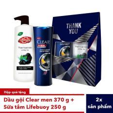Hộp quà Dầu gội sạch gàu dành cho nam CLEAR Men Deep Cleanse Sạch sâu da đầu 370g + sữa tắm Lifebuoy than hoạt tính 250g