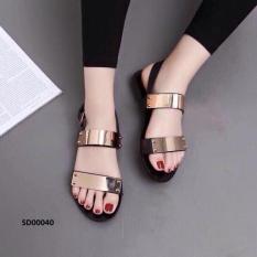 Giày sandal 2 quai tán vàng-đen