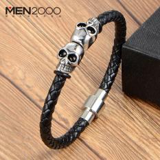 Vòng tay Nam đầu lâu da bện khoá Titan thời trang cao cấp Thời trang Phong cách Hàn Quốc Nhật Bản Phụ kiện đồng hồ đeo tay Không đổi màu HFP122