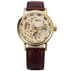 Đồng hồ cơ nam SEWOR dây da lộ máy lịch lãm sang trọng IW-SQ605 (Nâu mặt vàng)