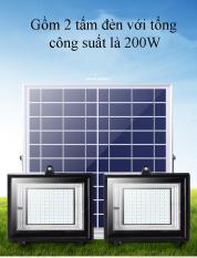 Đèn LED năng lượng mặt trời gồm 2 đèn 50W và 1 tấm pin năng lượng HOOREE 385