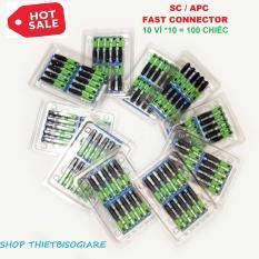 bộ 10 vỉ = 100 đầu nối cáp quang SC APC -207